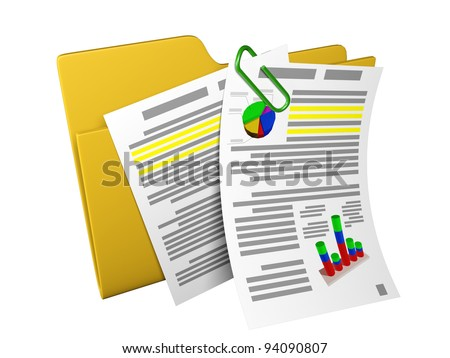 3d an illustration: a yellow folder with documents and schedules