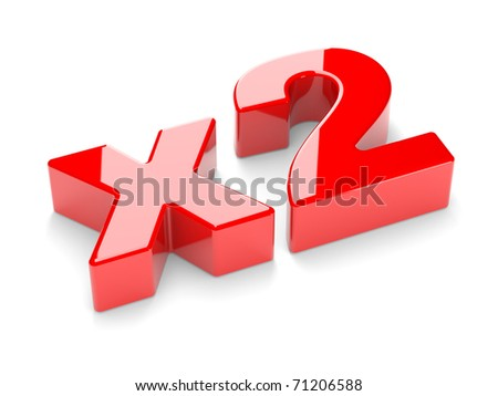 "3D an inscription ""x2"" on a white background - stock photo"