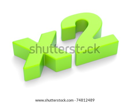 """3D an inscription """"x2"""" on a white background"""
