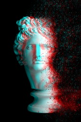 3d anaglyph effect. Gypsum statue of Apollo's head. Man. Creative. Coronavirus Covid-19 outbreaking.  Vintage style. Glitch Art. Digital offset CMYK illustration. Apollo Belvedere. coronavirus
