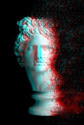 3d anaglyph effect. Gypsum statue of Apollo's head. Man. Creative. Coronavirus Covid-19 outbreaking.  Vintage style. Glitch Art. Digital offset CMYK illustration. Apollo Belvedere. coronavirus