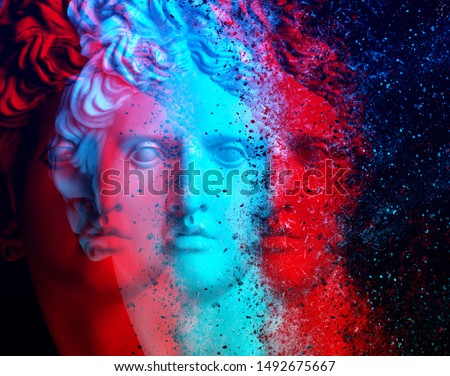 3d anaglyph effect. Gypsum statue of Apollo's head. Trinitas. Creative. David Apollo. Триединство. Vintage style.  Glitch Art. Apollo Belvedere. coronavirus. Coronavirus Covid-19 outbreaking. Trinitas