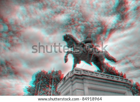 3D anaglyph image of the statue of Vittorio Emanuele on horseback in Piazza Bra, Verona, Italy. View with red/cyan glasses.