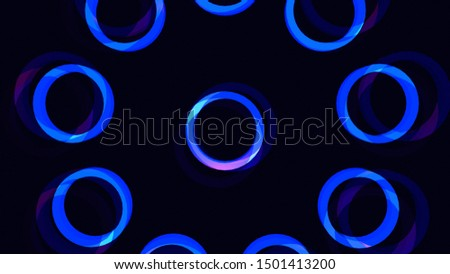 3D and 2D mixed media rendering of abstract background of concentric circles. Funky mandala flower glowing blue for kids background.