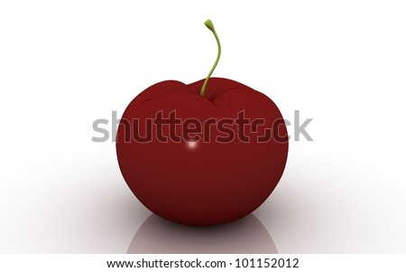 3D apple on white background