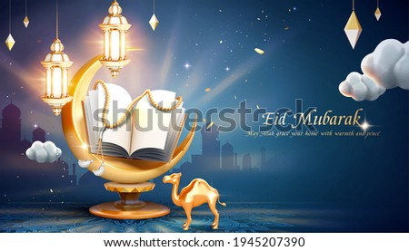 3d arabic holiday greeting banner with glowing crescent and holy book quran over blue mosque silhouette background