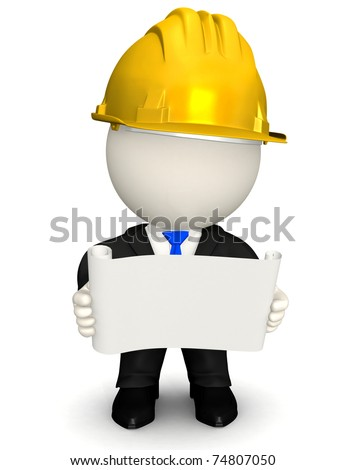 3D Architect or engineer looking at blueprints - isolated - stock photo