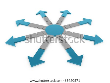 3d arrow circle blue gray isolated on white background