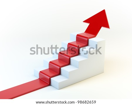 3D arrow climbing up over a staircase