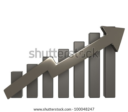 3D arrow raising up and showing the growth of the excellent market / growth