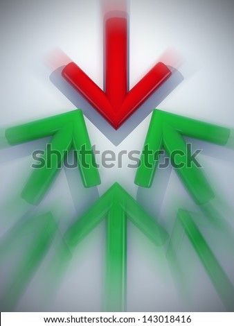 3d arrow red and green line graph direction of stock market, stock exchange opposite up or down art concept