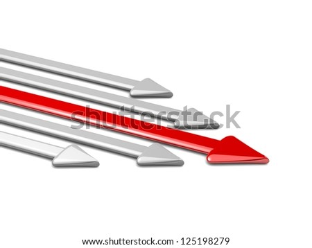 3d arrow. Red arrow leader, gray arrows behind. Business concept. Illustrations business and sport competition on the white background. arrow to the left. - stock photo