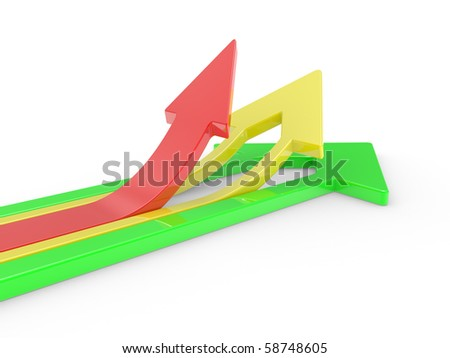 3D Arrows directed upwards isolated on a white background