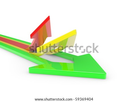 3D Arrows directed upwards isolated on a white background - stock photo