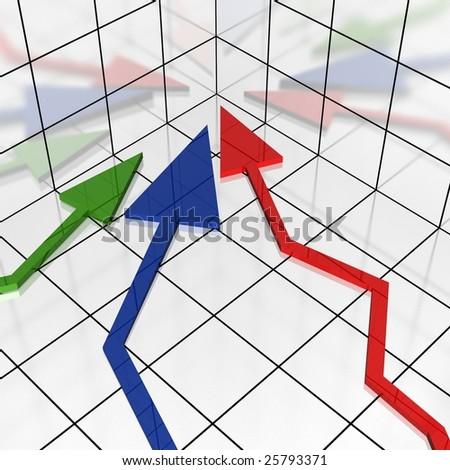3d arrows in coordinate showing to origin