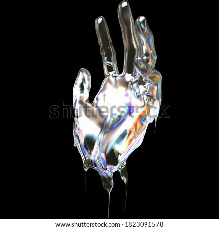 3d Art holographic abstract futuristic design idea. Hand gesture liquid metallic texture isolated on a black background 3d rendering concept.