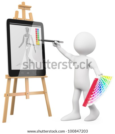 3D Artist - Artist painting in a tablet pc. Rendered at high resolution on a white background with diffuse shadows.