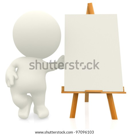 3D artist with canvas on a easel - isolated over a white background