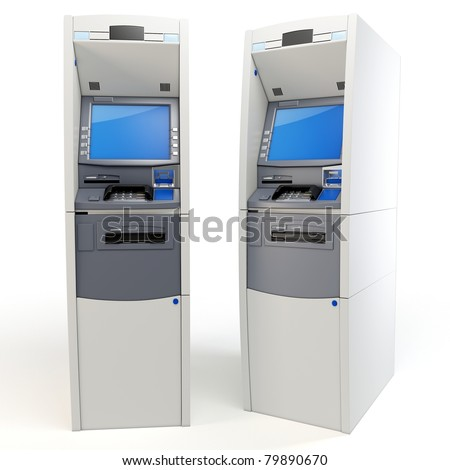 3d atm machines detailed isolated on white