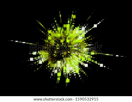 3D Atom icon. Luminous nuclear model on dark background.  Glowing energy balls. Molecule structure. Trace atoms and electrons. Physics concept. Microscopic forms. Nuclear reaction element. Neutron.