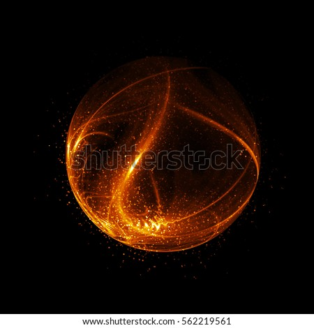 3D Atom luminous nuclear model on dark background. Glowing energy balls. Molecule glitter structure.  Trace electrons forms. Physics concept. Nuclear reaction element. Beautiful xmas ray. Glam fantasy