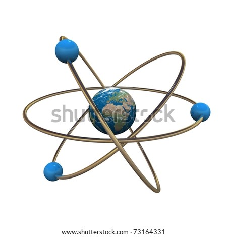 3d atom model with Earth in center