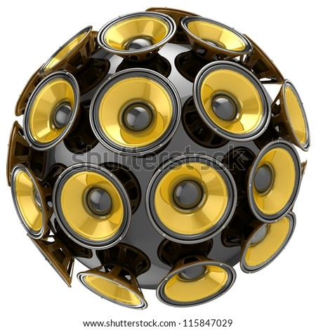 3D audio speakers sphere isolated on white background.