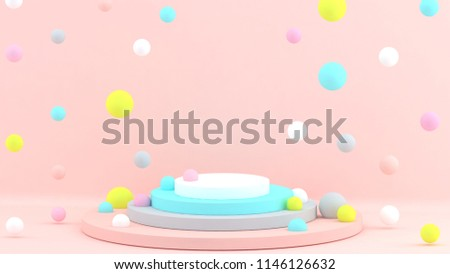 3d background. Abstract wallpaper.  Flying geometric objects.  Beige. Podium. Holiday. 3d render. Happy. Spheres. Pink. Blue. Yellow. Pastel colors. stock photo