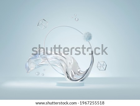3D background blue podium display, abstract metallic silver frame, cloth flying. primitives levitating over pedestal. Cosmetic, beauty product placement. Trendy  stand, 3D render