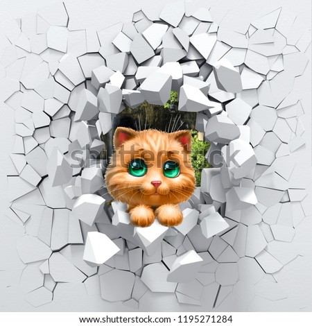 3d background, cat peeping from a broken wall. 3D wall looks very lovely and also brings different colors to room! It will visually expand children's room and become an accent in the interior design.