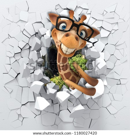 3d background, little giraffe peeping from a broken wall. 3D wall looks very lovely and also brings different colors to room! It become an accent in the interior design. 3D rendering.