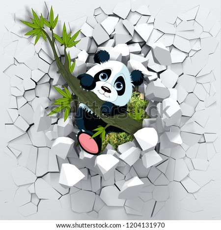 3d background, little panda peeping from a broken wall. 3D wall looks very lovely and also brings different colors to room! It will visually expand children's room and become an accent in the interior