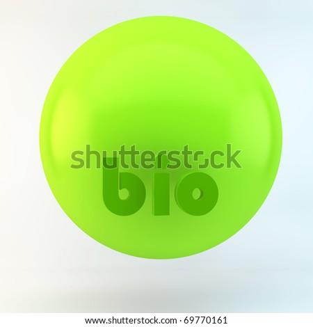 3d  background of bio sphere, green sphere
