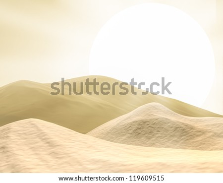 3D background of desert and sun