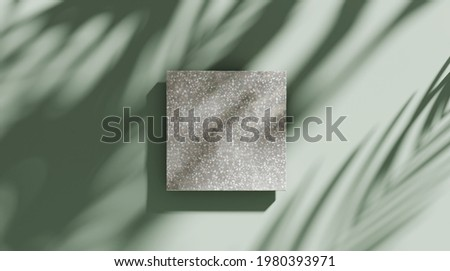 3D background, stone display flat lay podium on natural pastel green backdrop and palm shadow. Product promotion Beauty cosmetic tropical showcase. Studio Summer, platform showcase template 3D render.