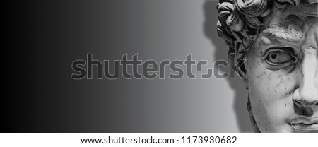 3d background, wallpaper black and white, antic statue face. Classical style wallpaper. David is a masterpiece of Renaissance sculpture created in 1501-1504 by the Italian artist  Michelangelo.