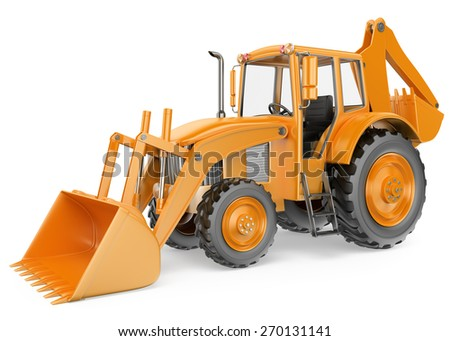 3D Backhoe loader. Digger. Isolated white background.