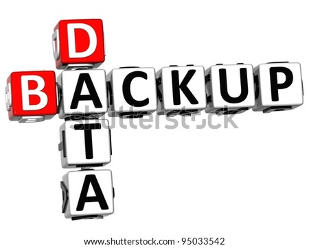 3D Backup Data Crossword on white background