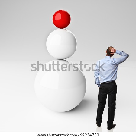3d balanced balls and thinking man on white