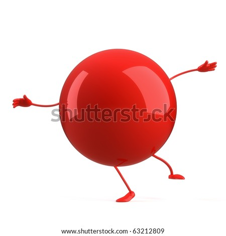 3d ball character on the white background