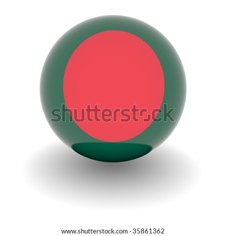 3D Ball with Flag of Bangladesh. High resolution 3d render isolated on white. - stock photo