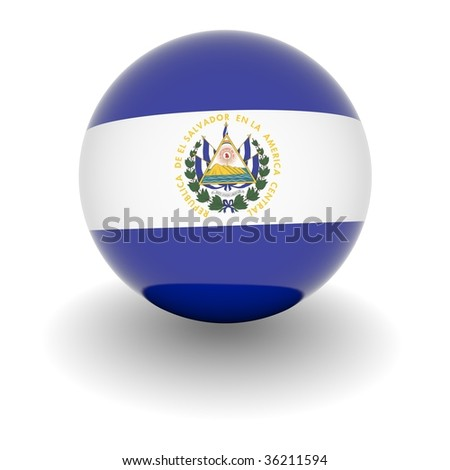 3D Ball with Flag of El Salvador. High resolution 3d render isolated on white.