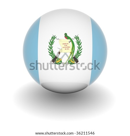 3D Ball with Flag of Guatemala. High resolution 3d render isolated on white.