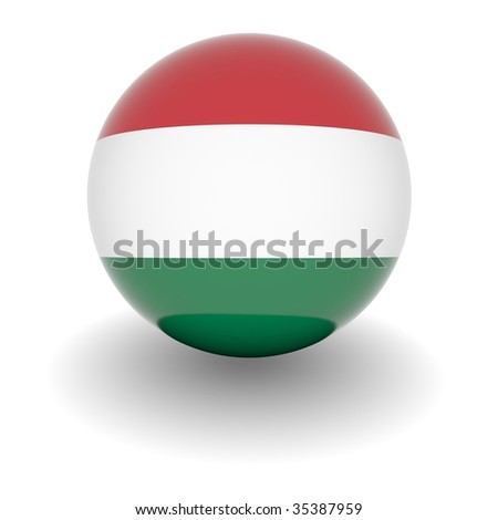 3D Ball with Flag of Hungary. High resolution 3d render isolated on white.