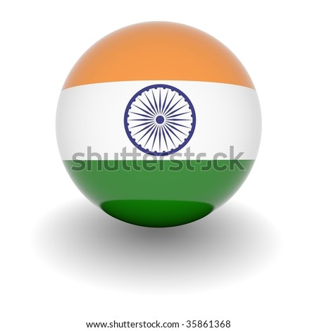 3D Ball with Flag of India. High resolution 3d render isolated on white.