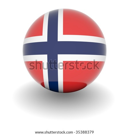 3D Ball with Flag of Norway. High resolution 3d render isolated on white.