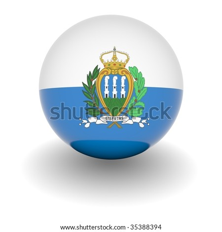 3D Ball with Flag of San Marino. High resolution 3d render isolated on white.