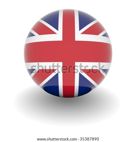 3D Ball with Flag of the United Kingdom. High resolution 3d render isolated on white. - stock photo