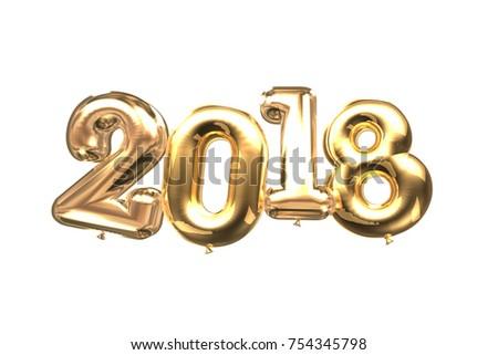 3D balloon 2018 new year  celebration