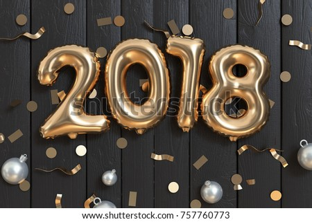 3d balloon 2018 text-type-letter gold and ribbon decoration new year holiday concept black wood background 3d rendering